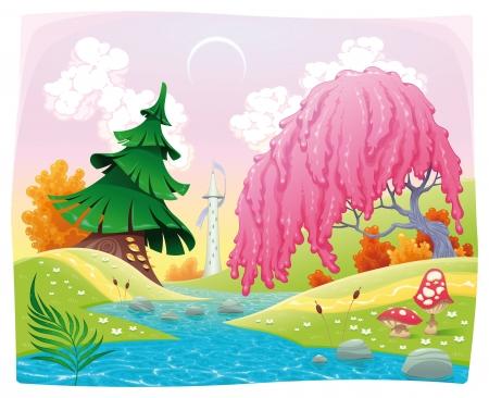Paesaggio di fantasia sulla riva del fiume.