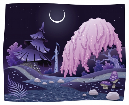 Fantasy nightly landscape on the riverside.  Vector