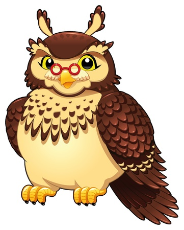 Funny owl. Cartoon and vector isolated character.  Vector
