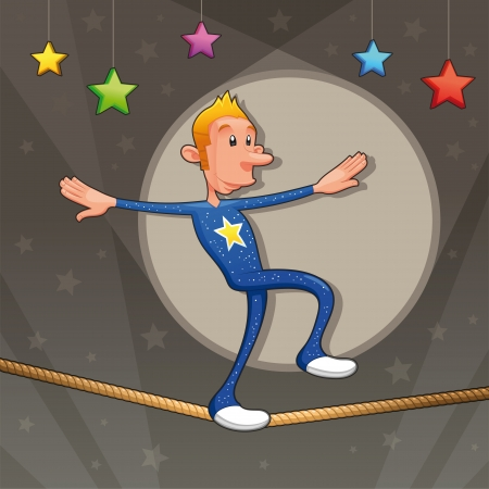 circus performer: Funny equilibrist is walking on the tightrope. Cartoon and vector illustration.  Illustration