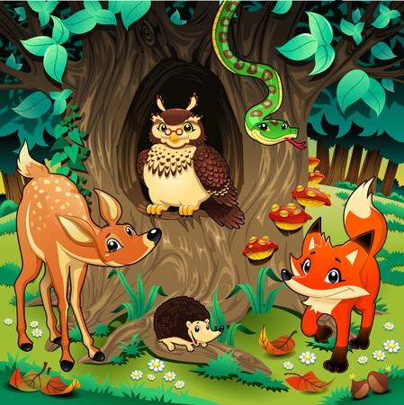 serpiente caricatura: Animales en la madera. Historieta y la ilustración vectorial.