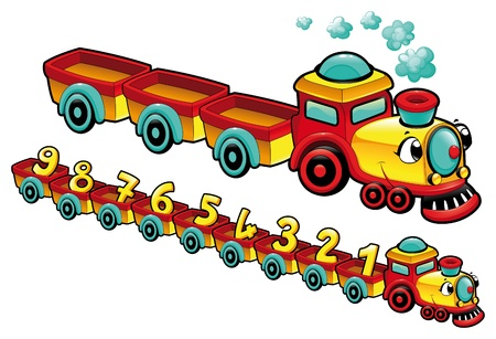 cartoon number: Funny train. Cartoon and vector isolated character.