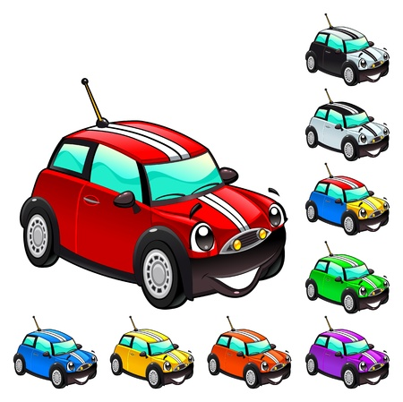 toy car: Funny car. Cartoon and vector isolated character.