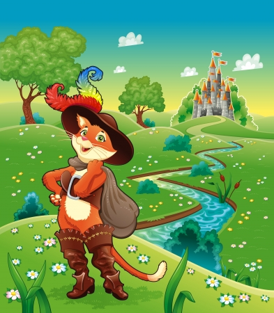Puss in boots and background  Cartoon character, vector illustration