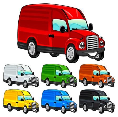 arrozal: Divertido camioneta. De dibujos animados y vector de caracteres aislados. Vectores