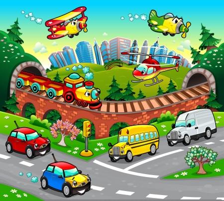 petit train: V�hicules dr�les dans la ville. Dessin anim� et illustration vectorielle.