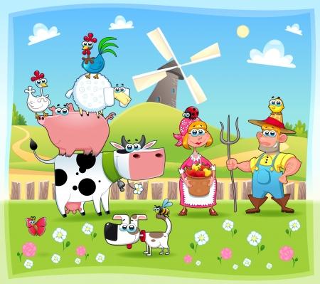 pollo caricatura: Familia Funny Farm. Historieta y la ilustración vectorial.