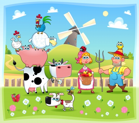 peasant: Funny Farm familie. Cartoon en vector illustratie. Stock Illustratie