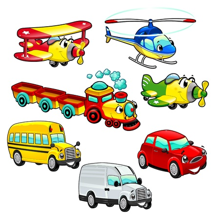 Funny vehicles Cartoon isolated characters.  Illustration