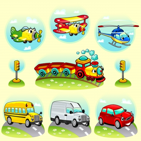 Funny vehicles with background. Vector