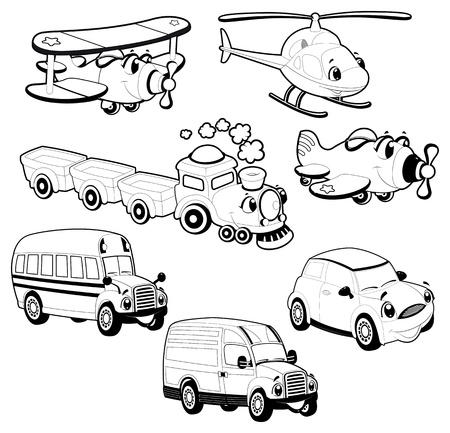 Funny vehicles in outline.