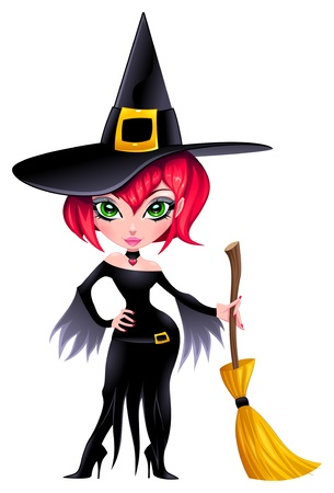 Funny witch.  Vector