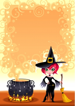 Funny witch with pot.  Vector