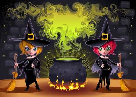 magic potion: Funny witches with pot.  Illustration