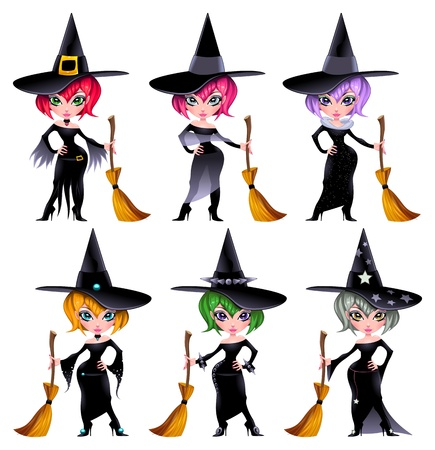 broomstick: Set of funny witches.  Illustration