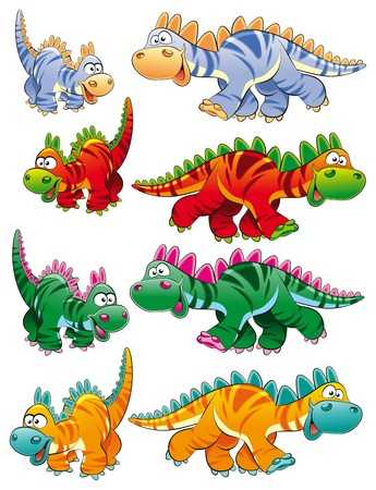 prehistory: Types of dinosaurs. Funny cartoon and  animal characters. Illustration