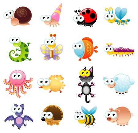 caracol: Family of funny animals. Dibujos animados y objetos aislados. Vectores