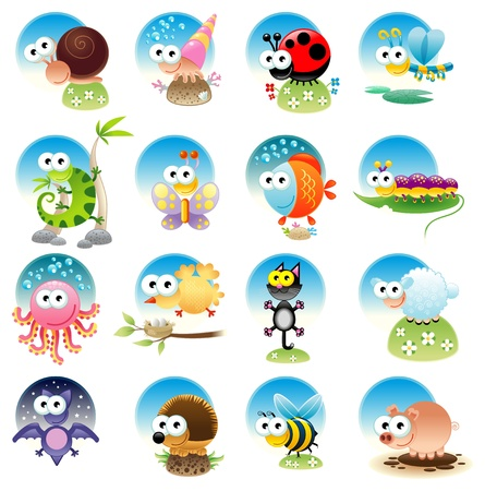 Family of funny animals with background. Cartoon and isolated objects. Stock Vector - 15373889