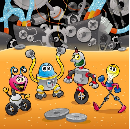 Robots with background. Cartoon and illustration.   Vector