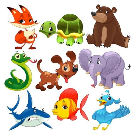 animali: Set di animali. Fumetto e caratteri isolati.