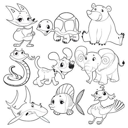 Set of animals in black and white. Illustration