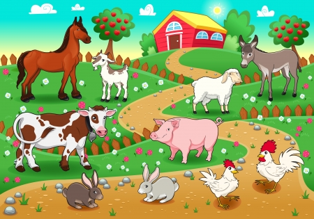 animals with background  Stock Vector - 15426330