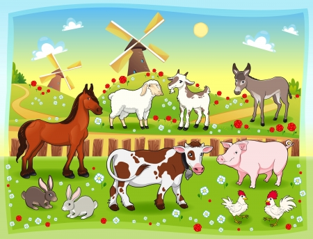 Farm animals with background Vector