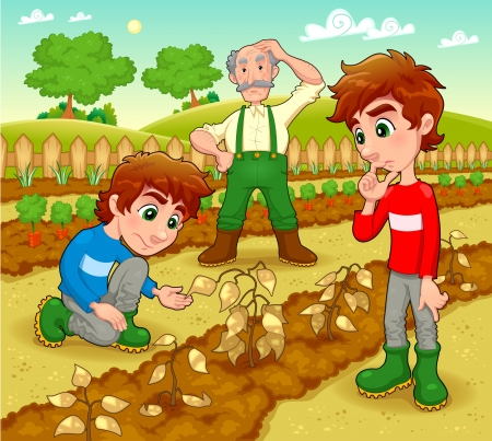Funny scene in the vegetable garden. Vector