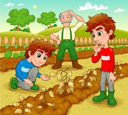 cultivation: Funny scene in the vegetable garden.