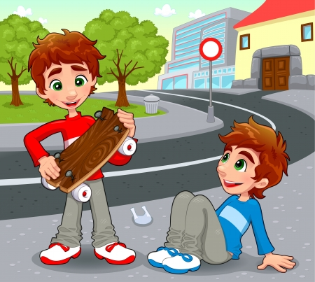 Twins with an homemade skateboard.  Vector