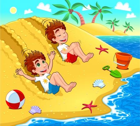 Los gemelos están jugando en la playa.