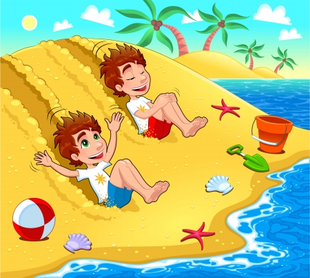 Twins are playing on the beach. Vector