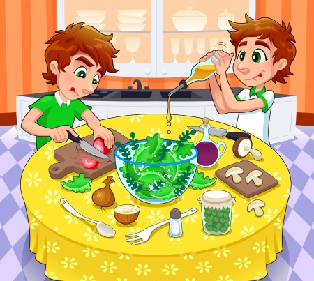 family dinner: Twins are preparing a green salad.   Illustration