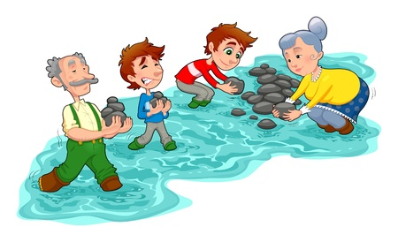 weir: Family is making a little dam with stones.  Vector and cartoon illustration.