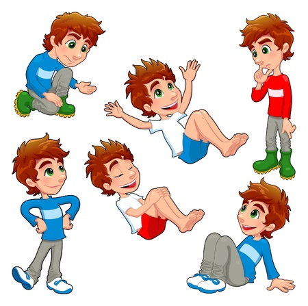 seated: Boy in different poses and expressions.  Vector isolated characters.  Illustration