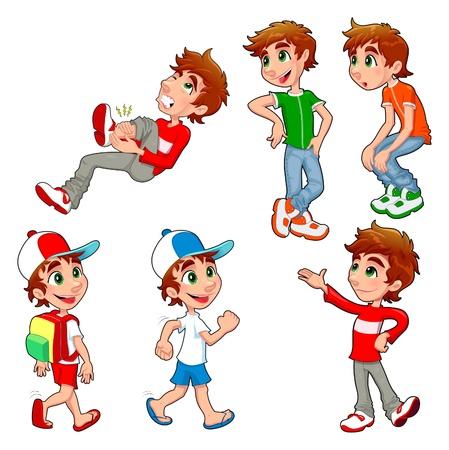 Jongen in verschillende poses en uitdrukkingen. Vector geïsoleerde tekens.