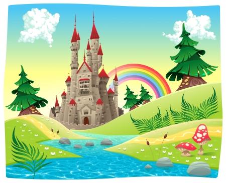castello medievale: Panorama con il castello. Fumetto e illustrazione vettoriale. Vettoriali