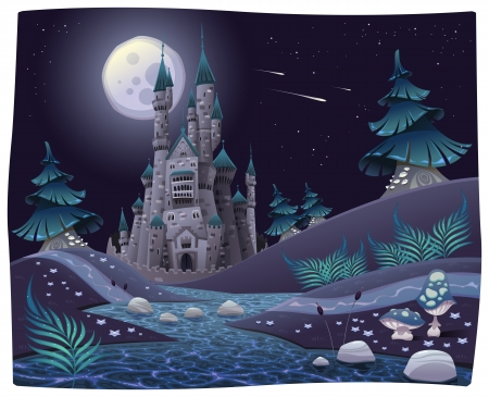 hill: Nightly panorama with castle. Cartoon and vector illustration.
