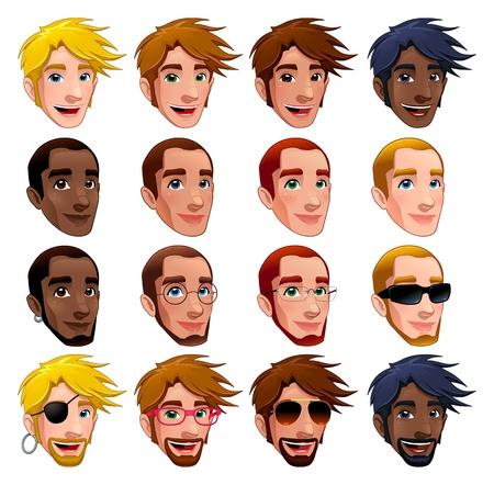 серьги: Мужские лица, отдельных символов. Очки, солнцезащитные очки и серьги изолированы и взаимозаменяемы. Иллюстрация