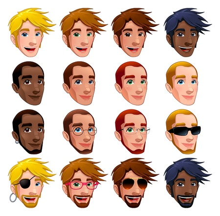 Male faces, isolated characters. Glasses, sunglasses and earrings are isolated and interchangeable.  Vector
