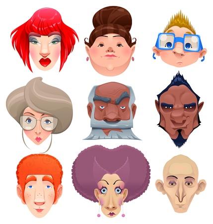 caricaturas de personas: Tipo de personas y personajes de dibujos animados aislados