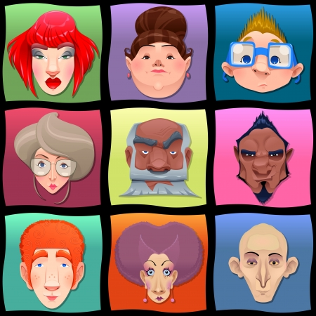 bald girl: Kind of people and cartoon illustration