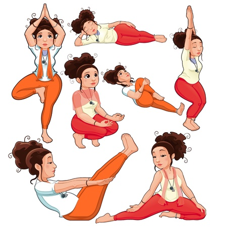 divinity: Yoga Positions. Funny cartoon  Illustration