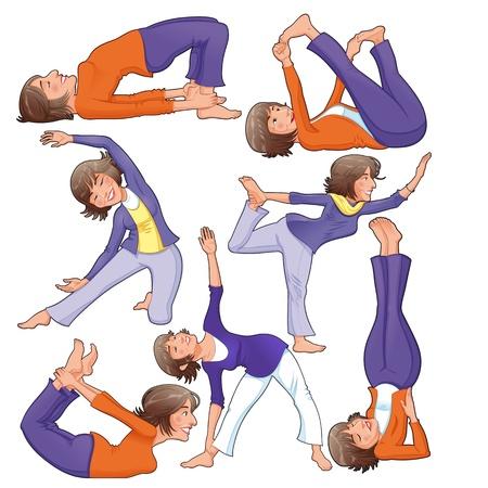 divinit�: Positions de yoga. Funny cartoon Illustration