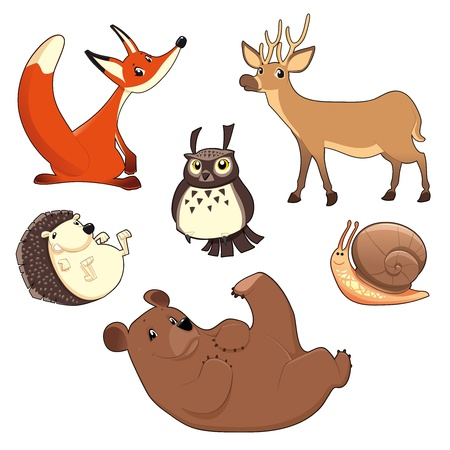 Wood Animals. Funny cartoon and isolated characters.