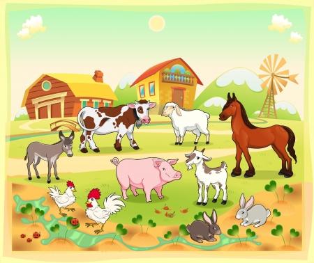 cow farm: Gli animali della fattoria con sfondo. Vettoriale e cartoon illustrazione.