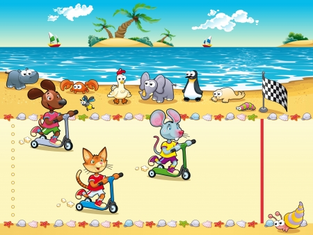 Competition in Beach. Cartoon and vector illustration, isolated objects   Vettoriali