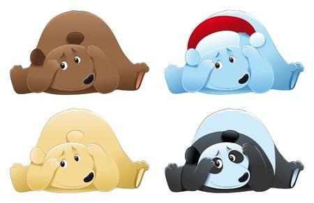 tenderly: Brown bear, polar bear and panda. Vector cartoon isolated characters.