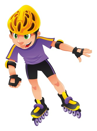 quickness: Rollerblade boy. Vector, cartoon, isolated character.