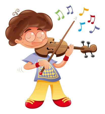 Baby musician. Vector Cartoon isolated character   Vettoriali